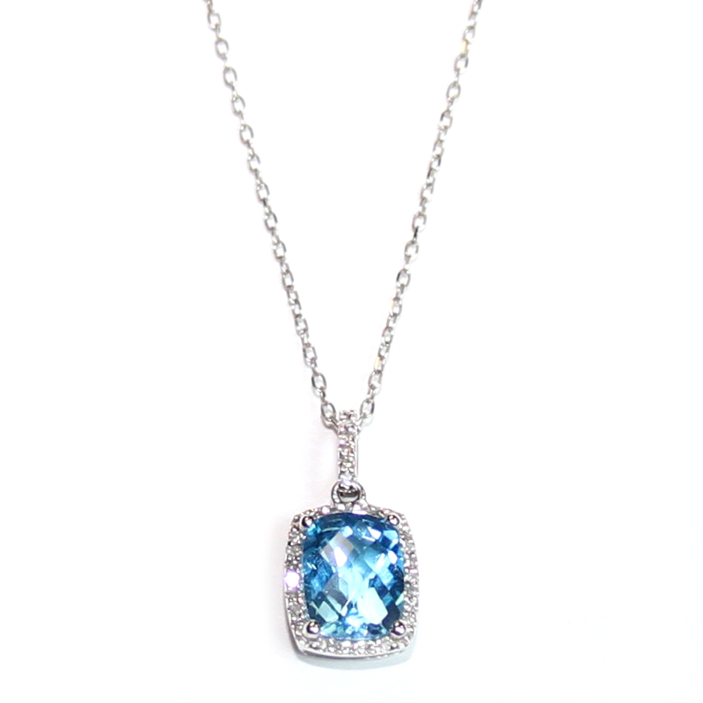 "Square checkerboard cut Blue Topaz .38ct. with diamonds around and on the pendant chain loop. 16"" 14ct. white gold chain. $519.00"