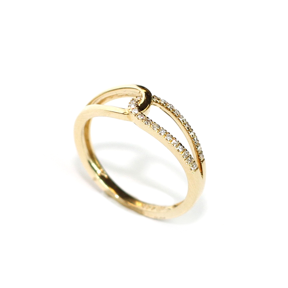 Infinity design 14 kt. yellow gold ring with a .11 ct. diamond. $450.00