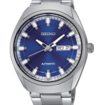 Seiko Recraft Men's Watch, Analog Display Automatic Self Wind. Beautiful silver and blue design. Water Resistant To 165 Feet.