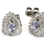 Tanzanite gemstone earrings are cool, especially with diamonds (.20ct.). Setting is 14kt. white gold. $180